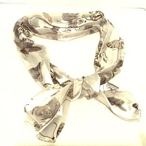 Butterfly Floral Silky Scarf Gray Black Silver